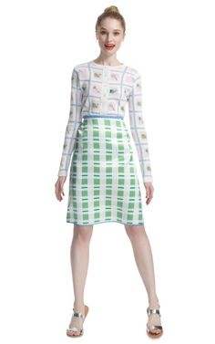 Scallop V Skirt in Silk with Contrast Waist and Hem by Thom Browne.