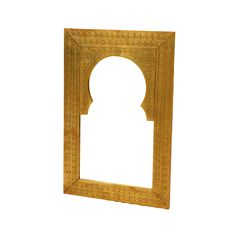 Allow this beautifully etched brass mirror to dress up any door or wall in your home. It has a rich and warm quality that brings a free-spirited, yet timeless style to your living area. Display it in your living room or hallway to create light and depth in any space.