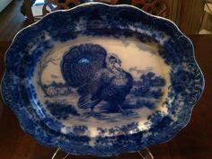 wow - I've never seen a flow blue turkey platter like this one ! Turkey Farm, Tom Turkey, Turkey Time, Turkey Plates, Turkey Dishes, Thanksgiving Platter, Thanksgiving Turkey, Blue And White China, Blue China