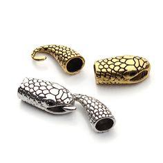 10 set/lot Mixta de Oro Antiguo/Plata Plateadas de la Serpiente Forma Corchetes de La Joyería de Cordón de Cuero de Moda Tapa de Conectores para la Pulsera F1067