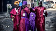 While these members of Kenya's Legio Maria Church are affected by teargas during clashes in Nairobi's Mathare suburb on election day. . Africa's top shots: 20-26 October 2017 - BBC News