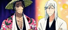Kyuraku Shunsui & Ukitake Jushiro...this must have been an awkward moment.lol #Bleach