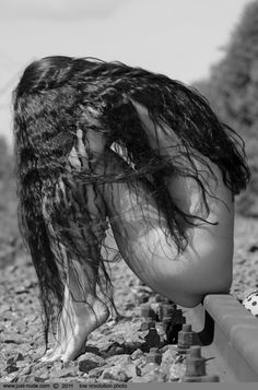 train tracks | beautiful long hair | surrender | naked | nude | black & white photography | let go | cry