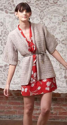 This kimono-style crochet cardigan adds easy coverage and warmth to jeans and a tee or a spring dress. Wear the Kimono Wrap open or belt with a bright scarf.