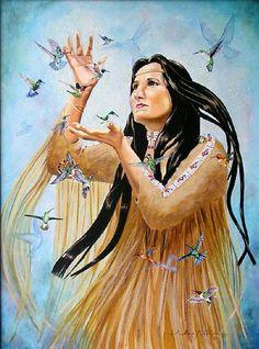 Print hummingbird Native American Indian maiden by RousArtStudio