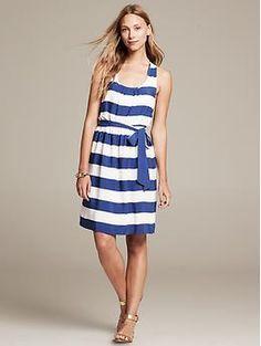 Striped Twist-Strap Dress - Dresses Banana Republic