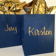 Your place to buy and sell all things handmade Matron Of Honour, Maid Of Honor, Gifts For Wedding Party, Party Gifts, Lettering Design, Hand Lettering, Blue Gold, Navy Blue, Personalized Gift Bags