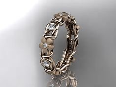 14kt rose gold diamond flower wedding by anjaysdesigns on Etsy, $1275.00