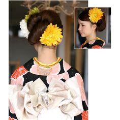 【楽天市場】ダリアの髪飾り【黄色/イエロー】【コサージュケース付】着物などの和装用髪飾りにとても人気のダリア。:PoulpeSympa
