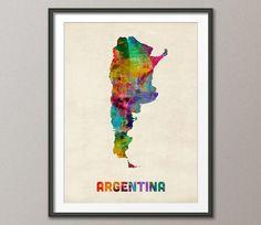 Argentina mapa acuarela Art Print 995 por artPause en Etsy