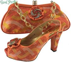 OLAMICH Shoe Bag Set Decorated Rhinestone High Quality Women Italy Wedding  Shoe Bag Orange Shoes a43b54ebfba8