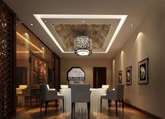 Dining Room:Simple Dining Room Ceiling Decoration With Round Chandelier  Dawnlight Painting White Round Table White Fabric Chair Painting Wooden  Floor Modern ...