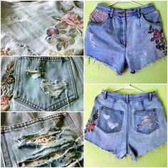 DIY Shorts collect cottage floral embroidery patches