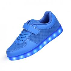 Blue LED Light Up Shoes With One Velcro For Kids
