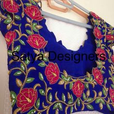 Super Rose Aari Work Blouse, Sari Blouse, Saree Blouse Designs, Mirror Work Blouse, Maggam Work Designs, Designer Blouse Patterns, Embroidery Works, Blouse Models, Blouse Styles