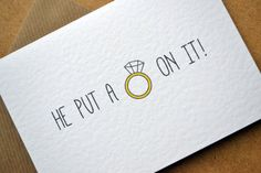 """Engagement Card – """"He put a ring on it!"""" Congratulations Greetings Card with Kraft Envelope – Funny Joke Ring Sketch Engagement Card He put a ring on it by AmysAvenueUK on Etsy Diy Engagement Cards, Engagement Wishes, Christmas Stall Ideas, Ring Sketch, Diy Postcard, Congratulations Greetings, Karten Diy, Wedding Cards, Wedding Quotes"""