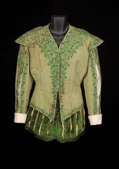 """Two-piece period court ensemble of green silk jacket with ornate embroidery and green velvet """"balloon' short pants, worn by Roger Moore as """"Prince Henri"""" while wrestling with Sean McClory and first meeting Lana Turner in Diane Hollywood Costume, Hollywood Dress, Period Costumes, Movie Costumes, Roger Moore, Beautiful Costumes, Silk Jacket, Royal Fashion, Fashion History"""