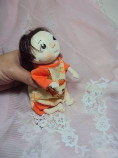 """Ooak Original Needle Soft Sculpted Baby Boy Cloth Doll  Freddie 7"""""""