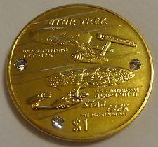 Star Trek Pure 24 kt GP $1 Coin USS Enterprise EXTREMELY RARE Pobjoy Mint w/COA