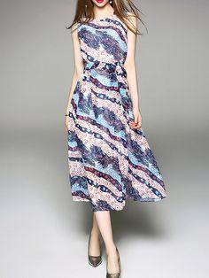 #AdoreWe #SheIn SheIn Color Block Tie-Waist A-Line Dress - AdoreWe.com