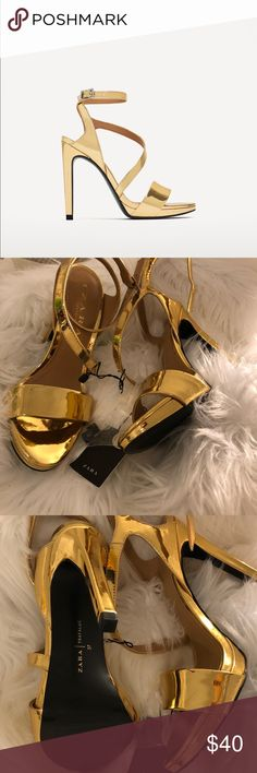 •Zara metallic gold heels• They feature a strap across the instep and buckled strap around the ankle.  Heel height = 4.7″ Zara Shoes Heels