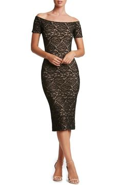 Dress the Population Jemma Lace Off the Shoulder Midi Dress available at #Nordstrom