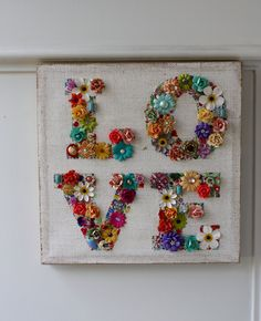 Love Wall Art Jewelry collage Vintage Paper Flower Colorful Bright Fun Assemblage Home decor Nursery bohemian Burlap Rustic Floral OOAK by SusieKays on Etsy Costume Jewelry Crafts, Vintage Jewelry Crafts, Antique Jewelry, Crafts To Make, Arts And Crafts, Paper Crafts, Diy Crafts, Button Art, Button Crafts