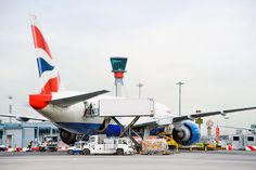 BA Boeing 777 loading cargo at Heathrow