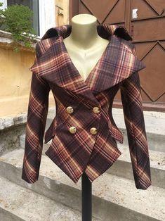 Plaid Womens Jacket Punk Jacket Avant Garde Jacket Wool | Etsy