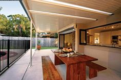 Searching for stylish and modern flat roof patios in Melbourne? At Modern Solutions, our flat roof patios are attractive, durable and built to last. Book a quote here! Deck With Pergola, Patio Roof, Pergola Patio, Diy Patio, Patio Bar, Backyard Patio, Pergola Designs, Patio Design, Pergola Ideas