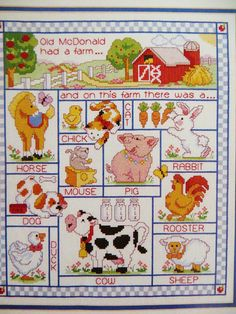 Old McDonalds Farm, counted cross stitch kit. Shows nursery rhyme and farm animals.  J & P Coats #23511 from 1992.  A large finished size: 12 x 14 inches Kit contains cotton floss, 14 count white Aida, thread holder, needle and complete instructions. Symbol chart is in color. Frame and matt not included. Complete kit, Package had a slit in the top, so I showed the contents for the pics and resealed. Complete and clean.  Convo me if questions. No returns. Thanks for viewing. I will have more…
