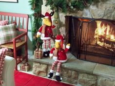 One sits, one stands, adorable Reindeer 2 piece Plush Fabric Figures.  HH200691  http://qvc.co/ShopValerie