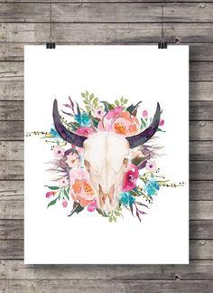 Téléchargement immédiat de taureau vache crâne - art de mur imprimable sud-ouest crâne aquarelle florale - fleurs aquarelle