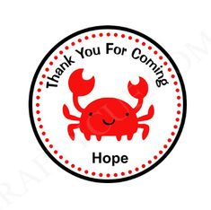 Crab Goody Bag Tags Crab Favor Tags Crab Favors Crab by CraftyCue