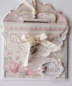 pocket envelope card, Mother's Day, shabby chic