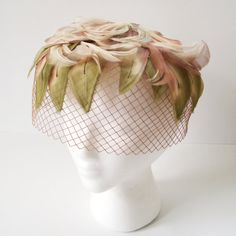 Pink Veil Hat, Vintage 50's Dusty Rose Pink Flower Petal Veil Headpiece, Facinator, Bridal Birdcage Veil, 50's Netting Hat