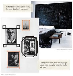 chalkboard walls (miss mine from NYC!) and masking tape frames via Creature Comforts