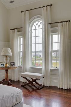 JRL Interiors — Designing Curtains for Challenging Windows - Palladian window draperies in a house on Martha's Vineyard by Patrick Ahearn, architect - Palladian Window, Decor, Arched Windows, Window Design, Interior, Curtains For Arched Windows, Curtain Designs, Home Decor, House Interior