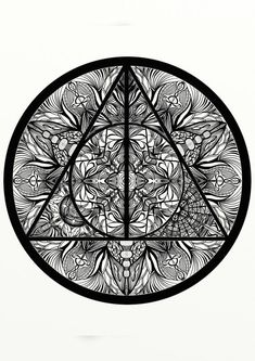 Harry Potter Deathly Hallows inspired Adult Coloring Mandala, Printable Coloring Page, Best Seller- Great Quarantine Activity! Mandala Harry Potter, Art Harry Potter, Harry Potter Colors, Harry Potter Deathly Hallows, Harry Potter Drawings, Harry Potter Tattoos, Harry Potter Coloring Pages, Disney Coloring Pages, Printable Coloring Pages