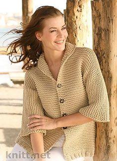 Жакет платочной вязкой с рукавами ¾ | knitt.net