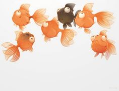 Goldfish - A gallery-quality illustration art print by Chhuy-ing IA for sale.
