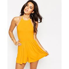 ASOS 90's Halter Romper featuring polyvore, fashion, clothing, jumpsuits, rompers, sunflower yellow, tall romper, halter top, halterneck top, halter romper and yellow halter top