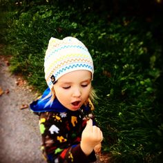 Feelgood pixie hat for colder weather! Lined bonnet, handprinted organic cotton. Pixie, Organic Cotton, Kids Outfits, Beanie, Hats, Clothes, Outfits, Clothing, Hat