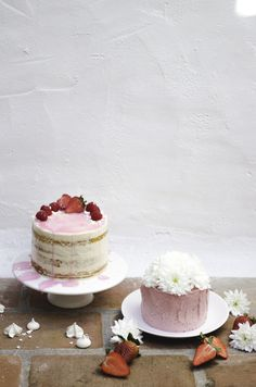 semi-naked lemon cake with raspberry jam and coconut buttercream | white chocolate cake with strawberry buttercream.