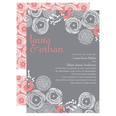 Bright Blooms - Coral Reef - Invitation Maybe teal and gray?