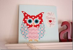 Owl Always Love You, Mom. Make with scrapbook paper (tracing templates)