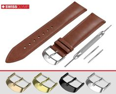 ThisEXTRA DARK BROWN smooth leather band in classic padded design made of premium quality genuine calf leather is available with/without buckle. Breitling, Seiko, Brown Flats, Rolex Watches, Fossil, Omega, Dark Brown, Band, Rotary