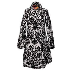 White and Black Brocade Coat By Desigual ❤ liked on Polyvore