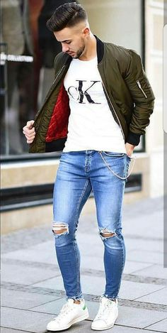 CK t-shirt, jeans, and jacket
