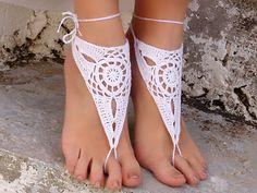 Barefoot sandles WHITE Barefoot sandals Wedding beach by Lasunka, €10.00